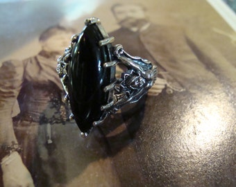 Unique Sterling Silver Black Onyx Mermaid Ring  Size 8 3/4