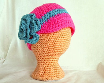 Baby Girl Newsboy Hat, Pink and Teal, Crochet Baby Hat 3 to 6 months, Flower Hat