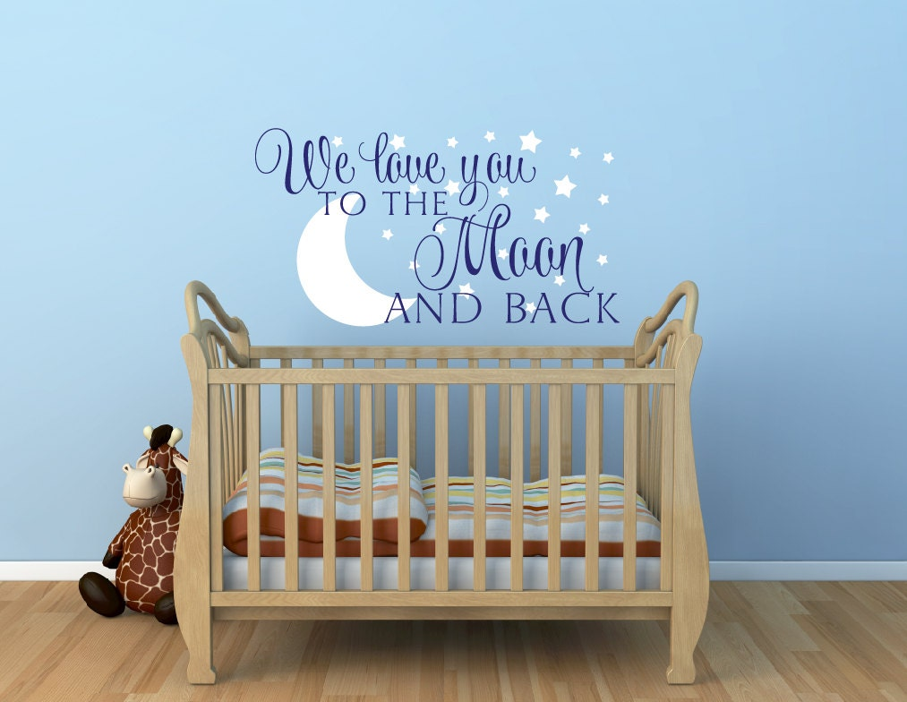 Nursery wall decal we love you to the moon and back wall zoom amipublicfo Choice Image