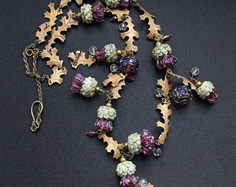 Thistle - glass lampwork necklace with bronze leaves. Violet, olive and bronze colors.