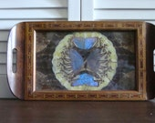 Vintage Taxidermy Butterfly Wings Wooden Serving Tray zz