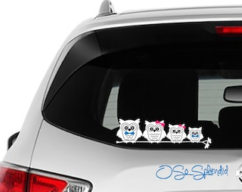 Owl Family Car Decals - Drop the stick figure family & do something original on your window - Dad, Mom, Girl, Boy, Child, Baby Owls Sticker