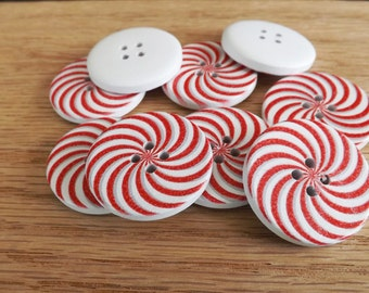 20 round candy cane button 30mm wooden buttons 4 hole buttons peppermint buttons Christmas button valentine button