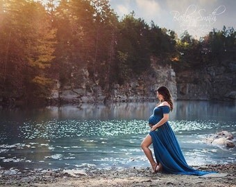 Kelly Maternity Gown • Short Sleeve Maternity Gown • Off The Shoulder Dress • Knit Pregnancy Dress • Knit Maternity Gown • Maxi Gown