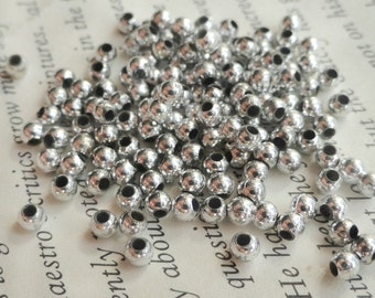 Silver Metallic Beads, 2mm, Round, Acrylic, MeJewelry Making, Spacer, Accent, 8.9 grams,