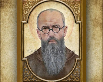 Saint Maximilian Kolbe Wood Plaque & Holy Card GIFT SET, Patron of Drug Addicts, Pro Life #3142