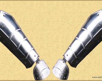 "Larp, fantasy, medieval, costume, steel armour: arm bracers ""Phönix"" (two units)"