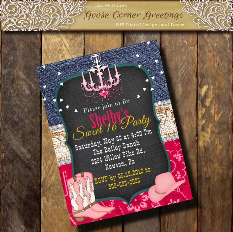 Western Boot Birthday Hot Pink Invitation Denim Burlap Lace