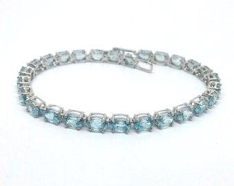 19.03ctw Blue Zircon Solid White Gold Bracelet 7.50 inch