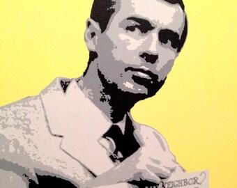 "Mister Rogers Custom Pop Art Painting 20""x20"" Canvas"