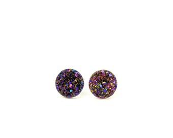 Druzy studs - geode stud earrings - druzy stud earrings - a set of titanium purple geode druzy discs set onto sterling silver posts
