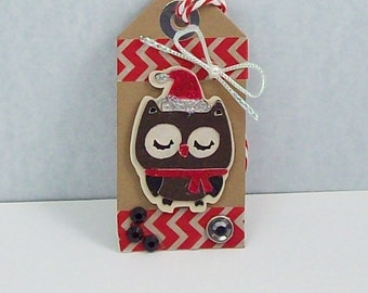 Just Reduced by 50%.  5 Christmas Owl Gift Tags, Holiday Owl  Gift Tags, Owl Gift Tags, Owl Gift Tags, Christmas Owl Favor Tags,