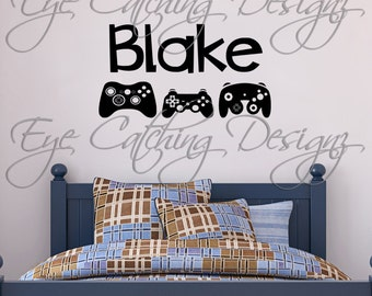 Gamer Personalized Video Game Controller Eat Sleep Game Mine Xbox Playstation Wall Decal Home Decor Vinyl Art Sticker Kids Teen Room Decor
