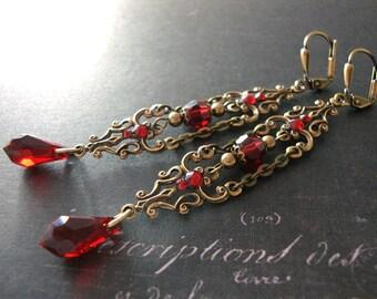 Romantic Red Victorian Earrings - Swarovski Crystal Blood Red Teardrop Long Earrings Antiqued Brass Gothic Wedding Jewelry - Vampire Jewelry