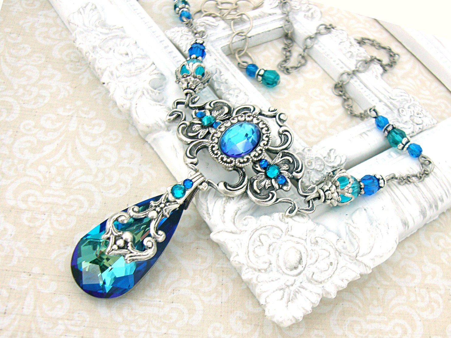 Bermuda Blue Necklace Victorian Peacock Wedding Necklace