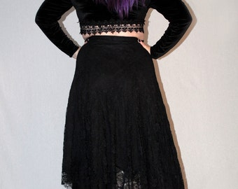 Banshee lace tattered maxi skirt