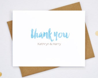 Personalized Wedding Thank You Cards - Couple Thank You Notecards - Customized Cards - Newlywed Stationery - 12 Quantity - (PC01)