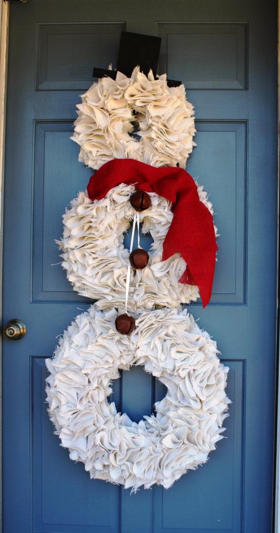Snowman Wreath Christmas Wreath White Burlap Snowman