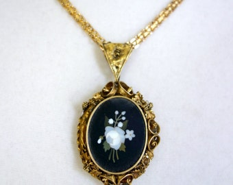 Pietra Dura 14K Gold Locket, Art Nouveau Pietra Dura Gold Locket
