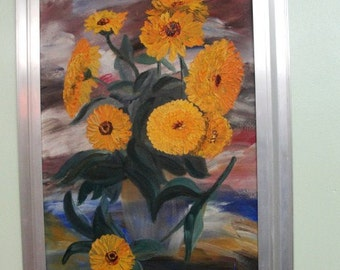 Sunflowers by Nicodem, Nice Metal Framed Vintage Mixed Media Painting.