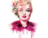 Marilyn Monroe Watercolor Digital portrait Celebrities Wall art Digital art Instant download Square painting Marilyn Monroe art Printable