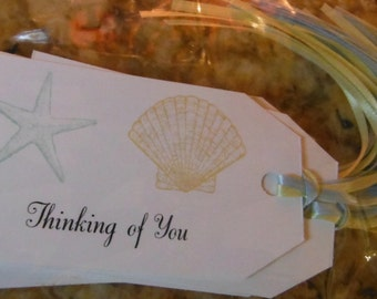 SEA SHELLS Thinking of You Gift Tags - Set of 8 with Matching Ribbons - Nautical