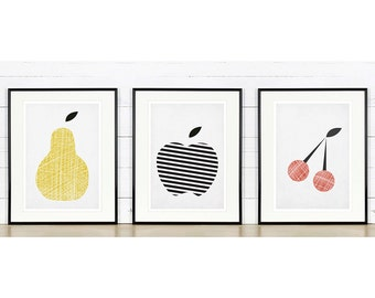 Fruit retro poster, kitchen art, apple, pear, cherry, minimalist design, kitchen picture, art print, vintage poster, wall hanging