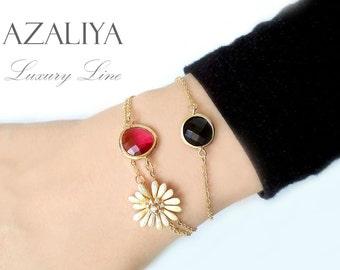 Black and Fuchsia Azaliya Bracelet Trio Set. Oval Bezel Stone Bracelet. Gold Bracelet. Azaliya Luxury. Bridal Bracelet. Bridesmaids Gift.