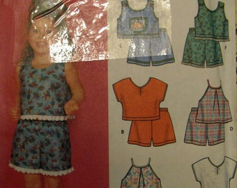 Simplicity 7133, Little Girls Crop Top, Capri's and Shorts, Sewing Pattern, Sizes 3,4,5,6,7 and 8