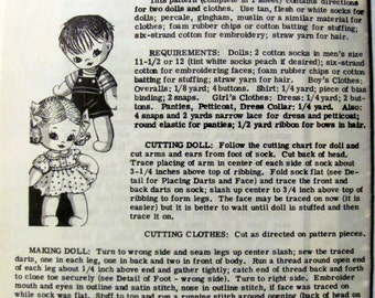 Boy and Girl Sock Dolls Sewing Pattern, Laura Wheeler 7140, Dolls Made Using a Size 12 Men's Sock