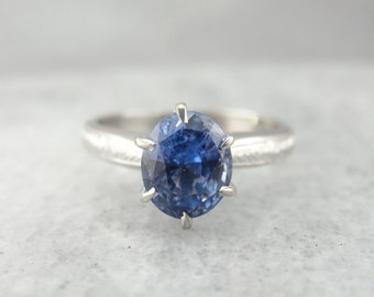 Soft Velvety Blue Ceylon Sapphire, Classic Engagement Ring Solitaire H9ZZ4Q-R