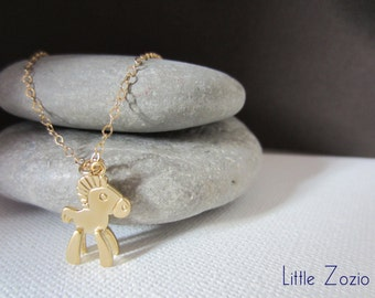 Necklace Small Horse Necklace - Gold 14 kt chain