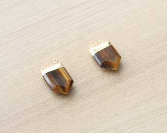 1 pcs of Tiger Eye Pendant With Gold Plated Pendant - Gemstone Pendants