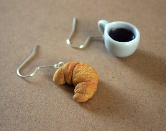 Coffee croissant earrings, miniature food polymer clay earrings, miniature food jewelry