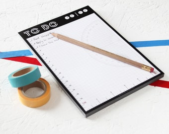 INTEGRATED RULERS MEMOPAD To Do List. Grid Paper Protractor Science Stationery Monochrome Knitting Uk Seller Memo Pad Fathers Day Gift Mom