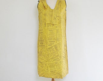 60s Vintage Waste Basket Boutique Iconic Yellow Pages Paper Dress