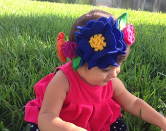 Colorful Felt Flower Crown, Girls Headband, Felt Crown, Hair Accessories