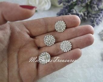 5 Small Rhinestone   Embellishment  - Flatback Button - Crystal Button - Rhinestone button - invitation card - wedding supply