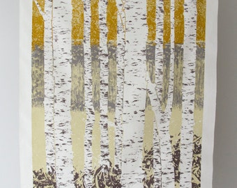 Large Four Color Limited Edition Birch Tree Screen Print - Warm Color - Forest in Summer - Water Based Ink on Raw Silk - Signed Print