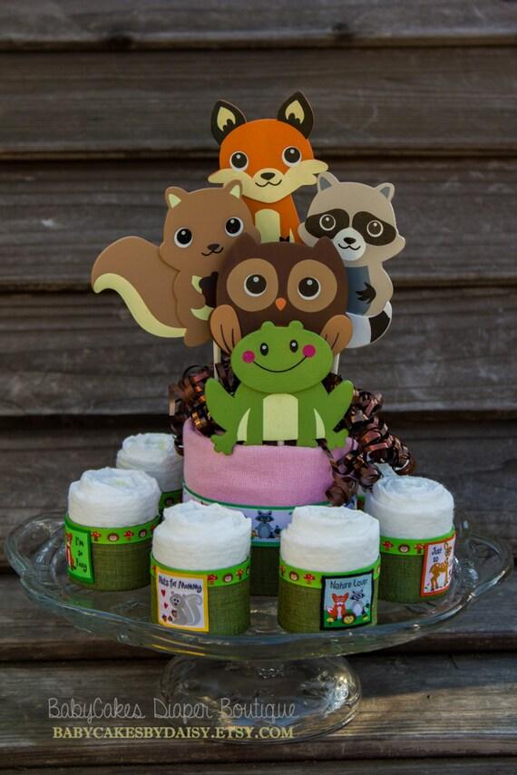 Woodland Friends | Diaper Cake Centerpiece | Baby Shower Centerpiece | Woodland Friends Theme