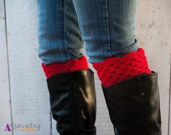 Boot toppers, red and black, leg warmers, boot socks, two in one, red, black