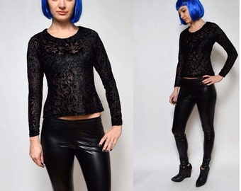 Vintage 90's Long Sleeve Black Lace Sheer Blouse