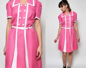 Vintage 70's Pink Belted Mod Dress