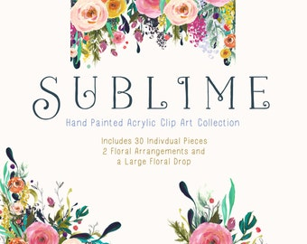 Hand Painted Flower Clip Art Collection - Sublime