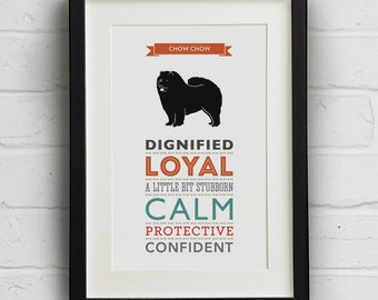 Chow Chow Dog Breed Traits Print - Great gift for Chow Chow Owners!