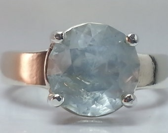Natural Aquamarine Sterling Silver Ring 3.11 ct. Size 7