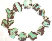 Chrysoprase Statement Necklace | Chunky Necklace | Green and Brown Abstract Nuggets