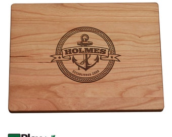 Personalized Engraved Cutting Board w/ Anchor Too Design 11x16 9x12 Personalized Wedding Gift,Wedding Gifts,Nautical Wedding, Nautical Gift