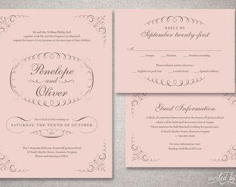 """Beautiful Flourish """"Penelope"""" Wedding Invitations Suite - Romantic Elegant Classic Invitation - DIY Digital Printable or Printed Invite"""