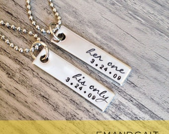 Her One, His Only, Script Font, Couples Jewelry, Stainless Steel Necklaces
